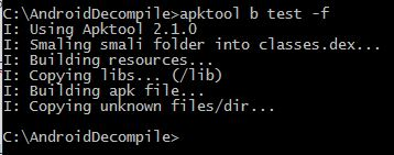 apktool Recompile command
